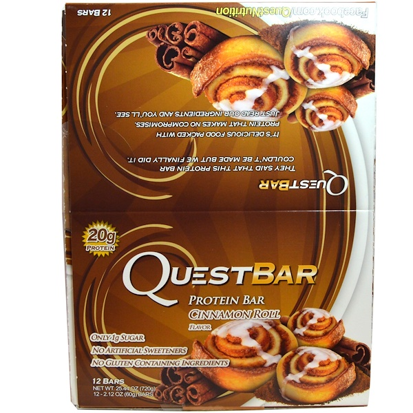 Quest Nutrition, Protein Bar, Cinnamon Roll Flavor, 12 Bars, 2.12 oz (60 g) Each (Discontinued Item)