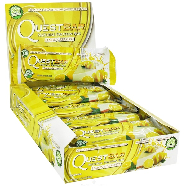 Quest Nutrition, Natural Protein Bar, Lemon Cream Pie, 12 Bars, 2.12 oz (60 g) Each (Discontinued Item)
