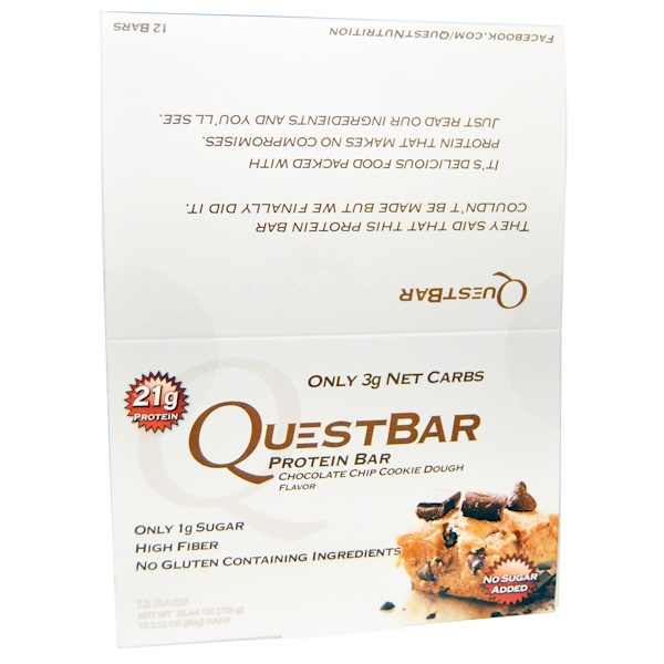 Quest Nutrition, Questbar Protein Bar, Chocolate Chip Cookie Dough, 12 Bars, 2.12 oz (60 g) Each (Discontinued Item)