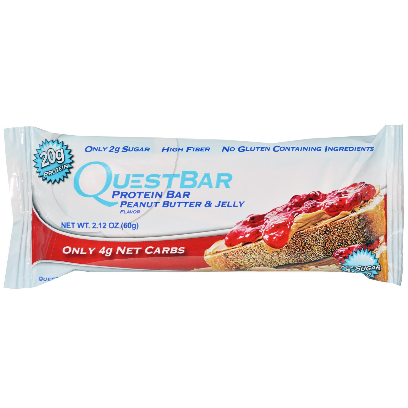 Quest Nutrition, Protein Bar, Peanut Butter and Jelly, 12 Bars, 2.12 oz (60 g) Each (Discontinued Item)