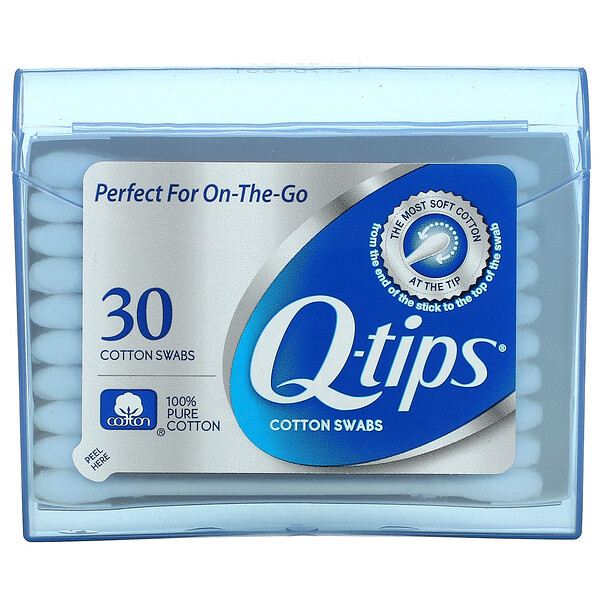 Q-tips, Cotton Swabs, On-The-Go, 30 Swabs