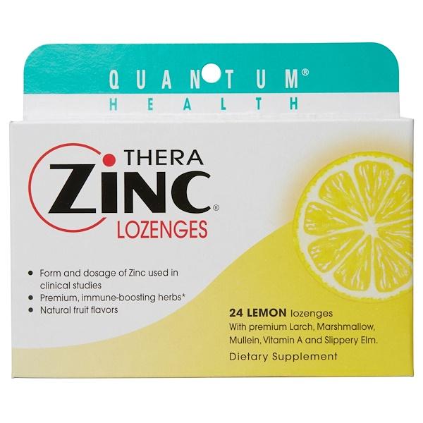 Quantum Health, Thera Zinc Lozenges, Cold Season +, Lemon , 24 Lozenges