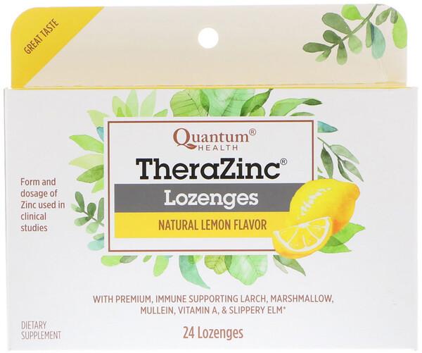 Quantum Health, TheraZinc Lozenges, Natural Lemon Flavor, 24 Lozenges