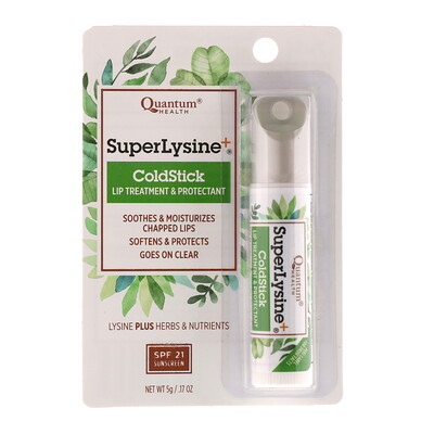 Super Lysine+, ColdStick, средство для ухода за губами и защитное средство для губ, SPF 21, 5 г (0,17 унции)