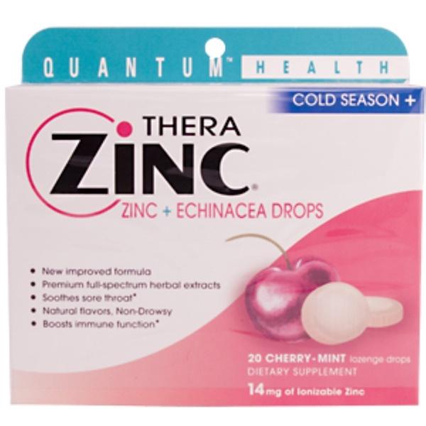 Quantum Health, Thera Zinc, Zinc + Echinacea Drops, 20 Cherry-Mint Lozenge Drops (Discontinued Item)