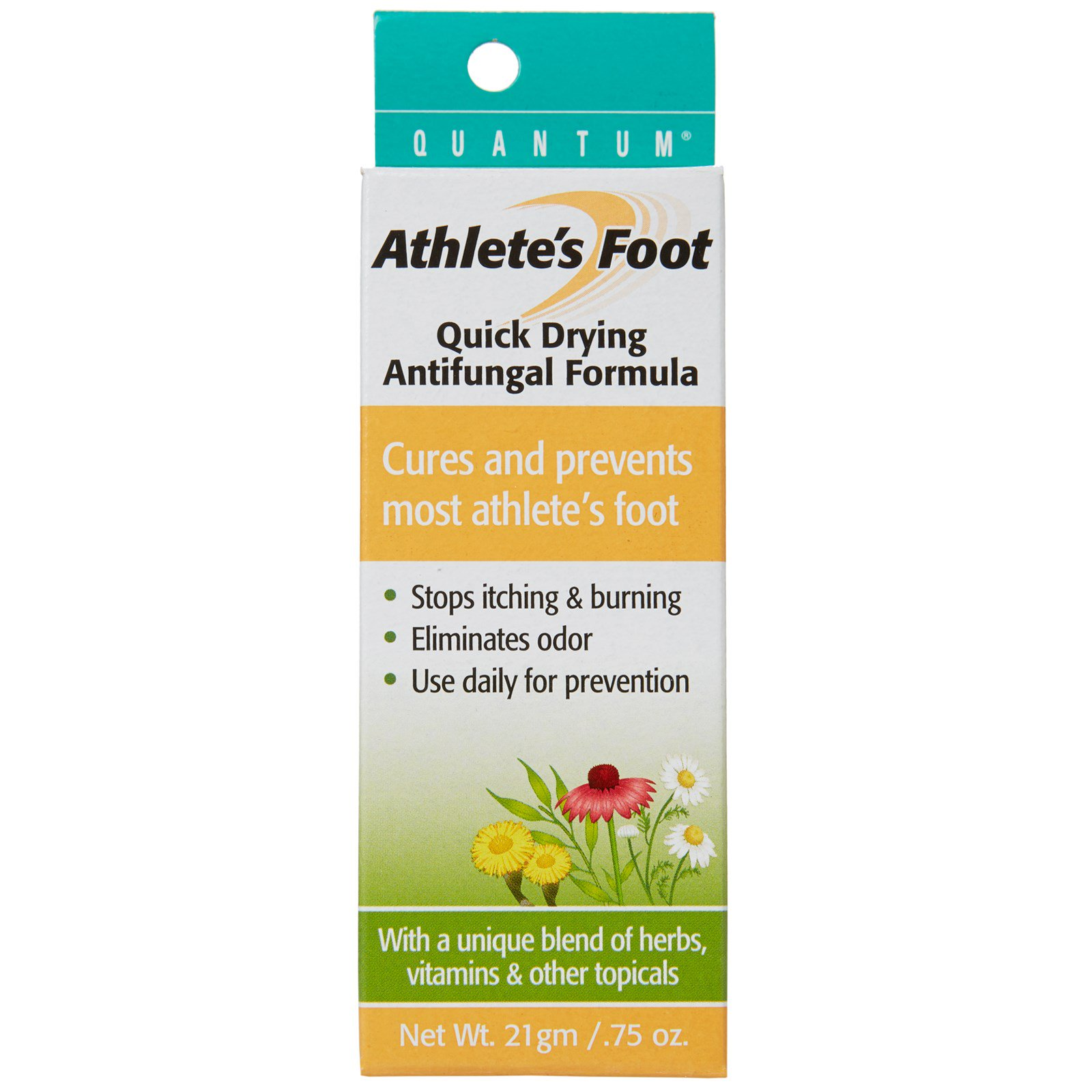 Quantum Health, Athlete's Foot, быстросохнущая формула против грибка стопы, 0,75 унции (21 г)