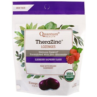 Quantum Health, TheraZinc, grageas, sabor frambuesa, 18 grageas