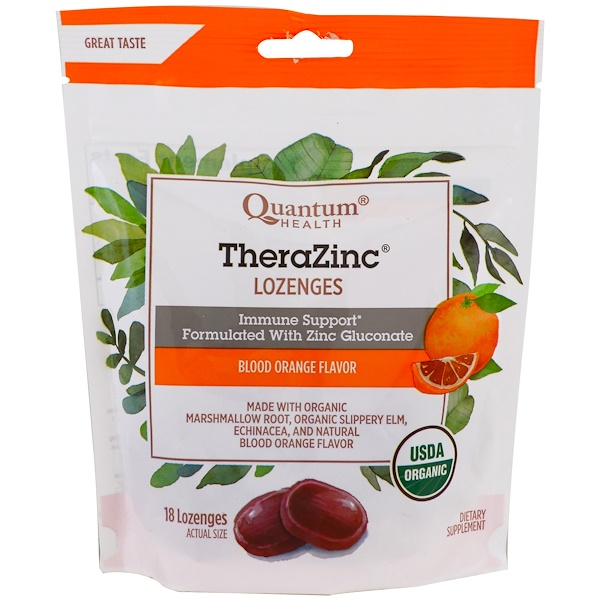Quantum Health, TheraZinc, Lozenges, Blood Orange Flavor, 18 Lozenges (Discontinued Item)