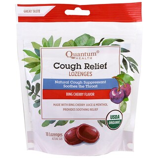 Quantum Health, Cough Relief, Lozenges, Bing Cherry Flavor , 18 Lozenges