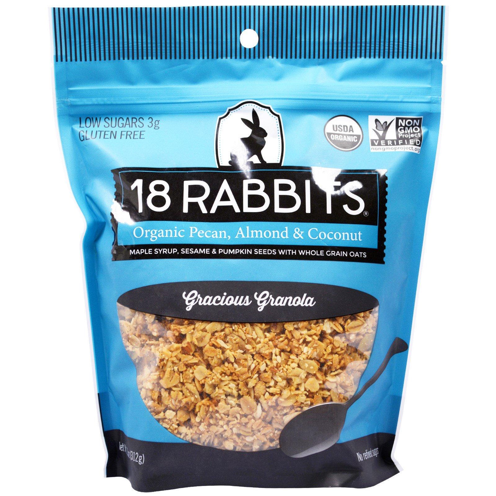 18 Rabbits, Мюсли Gracious Granola, с пеканом, миндалем и кокосом органического происхождения, 11 унций (312 г)