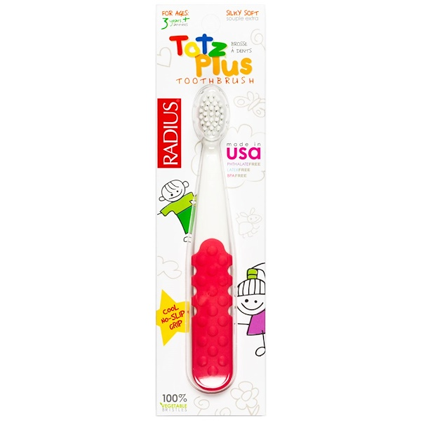 RADIUS, Totz Plus Toothbrush, 3+ Years, White/Pink Coral, 1 Toothbrush (Discontinued Item)