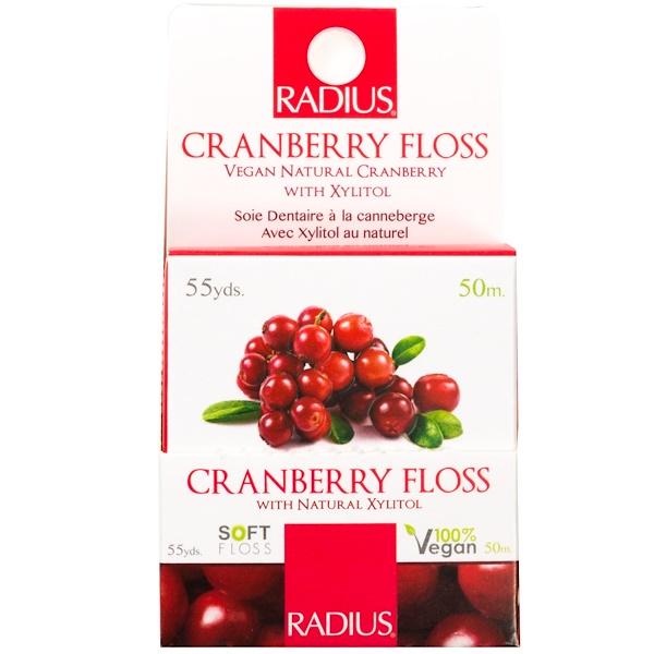 RADIUS, Vegan Xylitol Cranberry Floss, 55 yds (50 m)