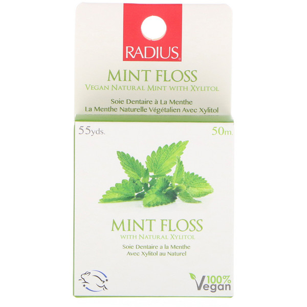 RADIUS, Mint Floss, Vegan Natural Mint with Xylitol, 55 yds (50 m)
