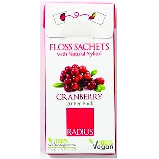 RADIUS, Vegan Xylitol Cranberry Floss Sachets, 20 Pack