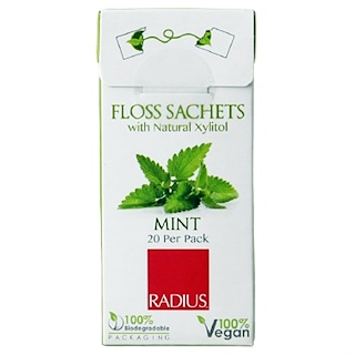 RADIUS, Vegan Xylitol Mint Floss Sachet, 20 Pack