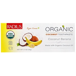 RADIUS, USDA (米国農務省)オーガニックココナッツ子ども用歯磨き、ココナッツバナナ、生後6カ月以上、1.7 オンス (48 g)