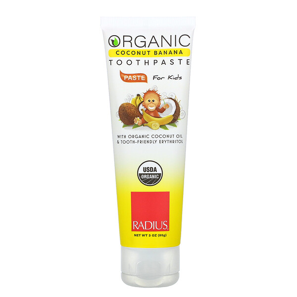 Organic Toothpaste, Coconut Banana, For Kids, 3 oz (85 g)