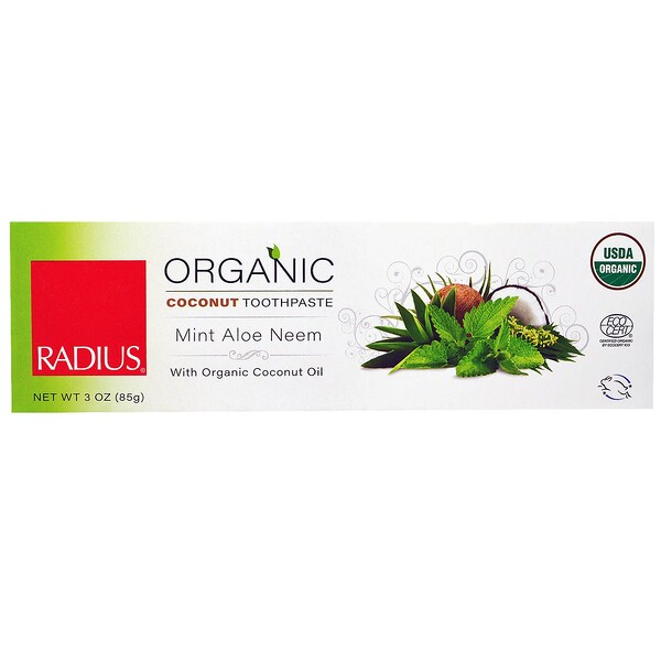 RADIUS, USDA Organic Coconut Toothpaste, Mint Aloe Neem, 3 oz (85 g) (Discontinued Item)