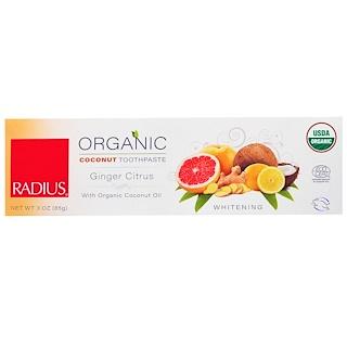 RADIUS, USDA Organic Coconut Toothpaste, Ginger Citrus, 3 oz (85 g)