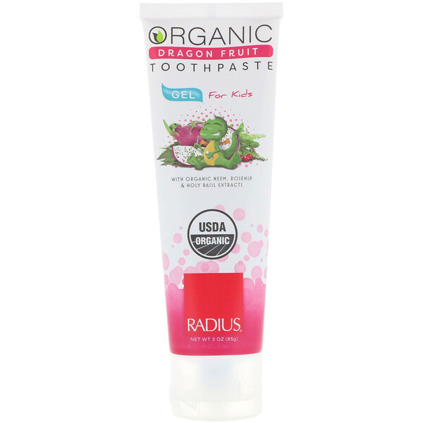 Organic Gel Toothpaste, For Kids, Dragon Fruit, 3 oz (85 g)