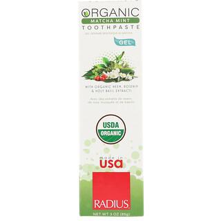 RADIUS, オーガニックゲル練り歯磨き、抹茶ミント、3 oz (85 g)