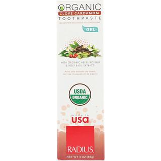 RADIUS, オーガニックゲル練り歯磨き、クローブ・カルダモン、3 oz (85 g)