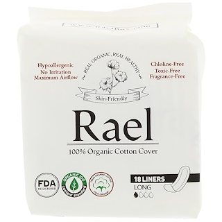 Rael, Protectores diarios orgánicos, Largos, 18 protectores