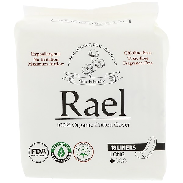 Rael, Organic Panty Liners, Long, 18 Liners (Discontinued Item)