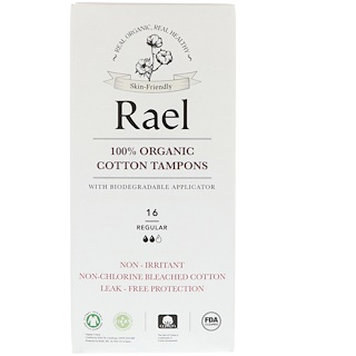 Rael, 100% Organic Cotton Tampons With Biodegradable Applicator, Regular, 16 Tampons