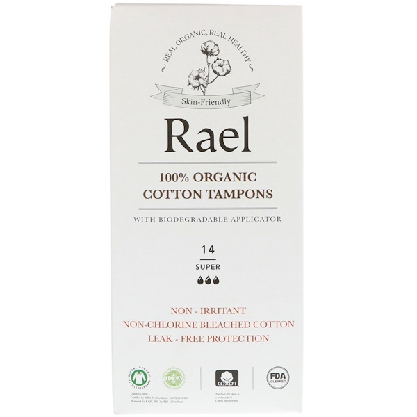 Rael, 100% Organic Cotton Tampons with Biodegradable Applicator, Super, 14 Tampons