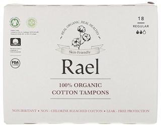 Rael, 100% Organic Cotton Tampons, Regular, 18 Tampons