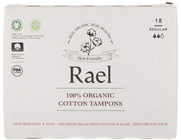 Rael, 100% Organic Cotton Tampons, Regular, 18 Tampons