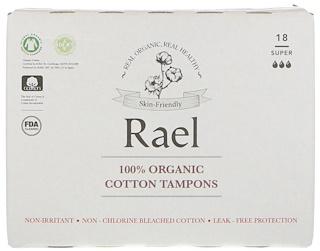 Rael, 100% Organic Cotton Tampons, Super, 18 Tampons