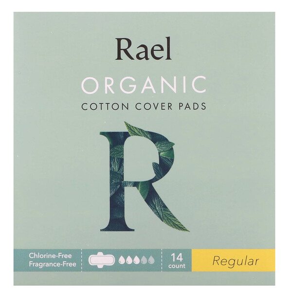 Rael, オーガニックコットンカバーパッド、レギュラー、14枚