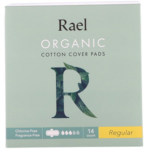 Rael, Organic Cotton Cover Pads, Regular, 14 Count
