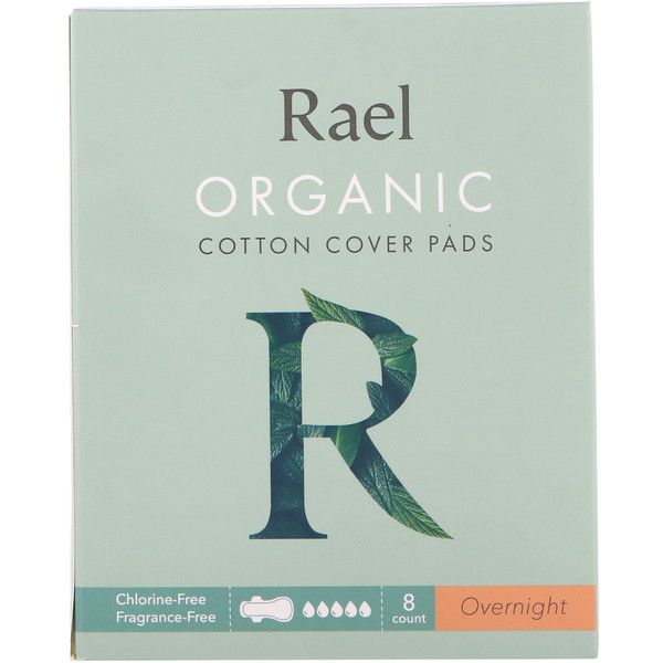 Rael, Organic Cotton Cover Pads, Overnight, 8 Count