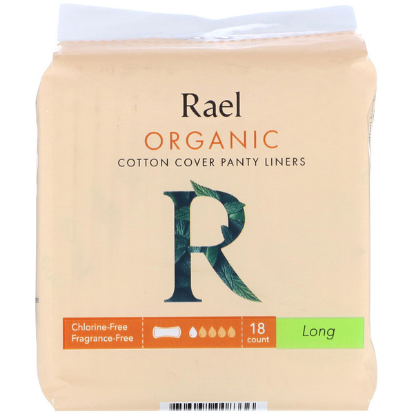 Rael, Organic Cotton Cover Panty Liners, Long, 18 Count