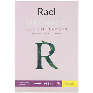 Rael, Organic Cotton Tampons With BPA-Free Applicators, Regular, 16 Count