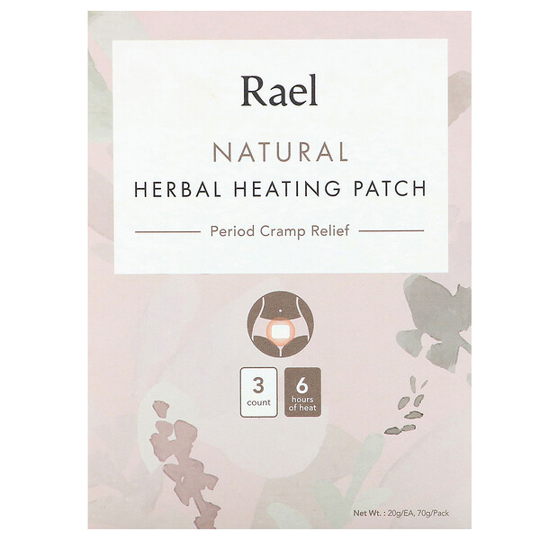 Rael, Natural Herbal Heating Patch, Period Cramp Relief, 3 Count, 20 g Each (Discontinued Item)