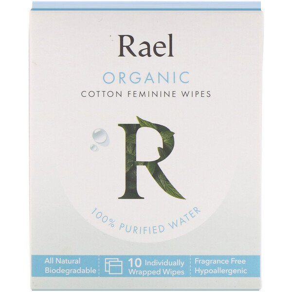Rael, Organic Cotton Feminine Wipes, 10 Wipes