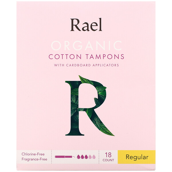 Rael, Organic Cotton Tampons with Cardboard Applicators, Regular, 18 Count