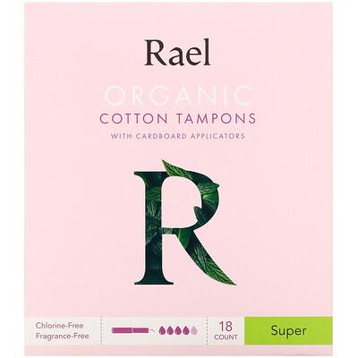 Купить Rael Organic Cotton Tampons with Cardboard Applicators, Super, 18 Count