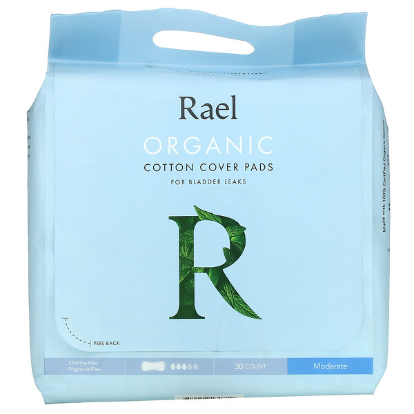 Rael, Organic Cotton Cover Pads, For Bladder Leaks, Moderate, 30 Count
