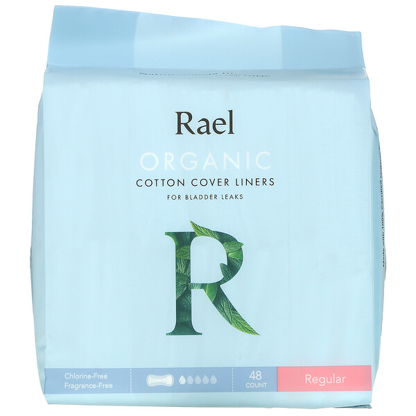 Rael, Organic Cotton Cover Liners, For Bladder Leaks, Regular, 48 Count
