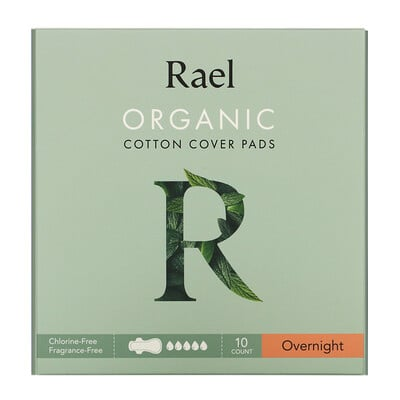 Rael Organic Cotton Cover Pads, Overnight, 10 Count