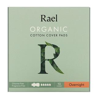 Rael, Organic Cotton Cover Pads, Overnight, 10 Count