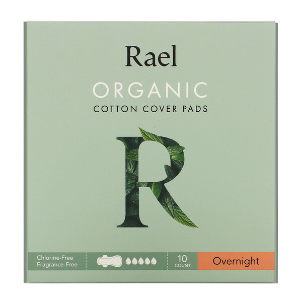 Organic Cotton Cover Pads, Overnight, 10 Count