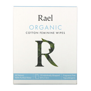 Rael, Organic Cotton Feminine Wipes, 10 Wipes