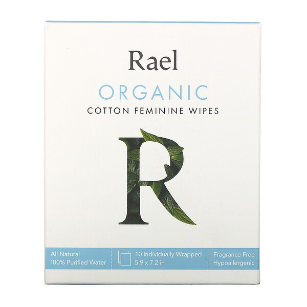 Organic Cotton Feminine Wipes, 10 Wipes