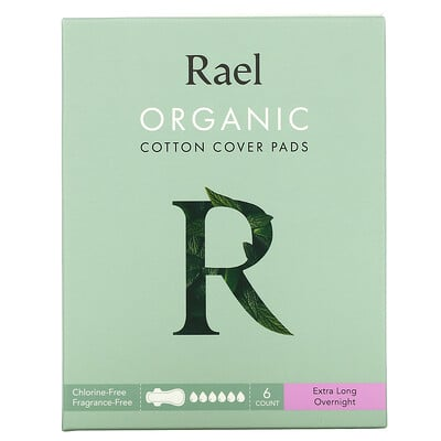 Rael Organic Cotton Cover Pads, Extra Long Overnight, 6 Count
